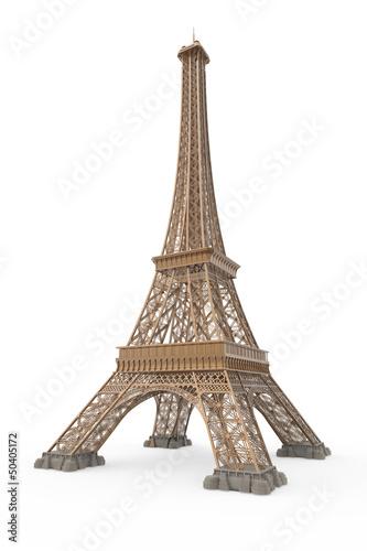 Leinwanddruck Bild Eiffel Tower Isolated on White Background