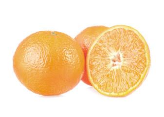 Fresh tangerines, isolated on white background