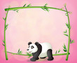 A panda and the empty bamboo frame