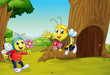 The two bees near a treehouse
