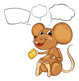 A rat holding a cheese with empty callouts