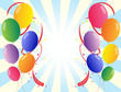 Twelve colorful party balloons