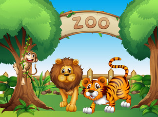 A monkey, a lion and a tiger inside the wooden fence