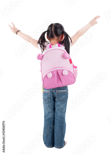 Full body rear view Asian child with schoolbag