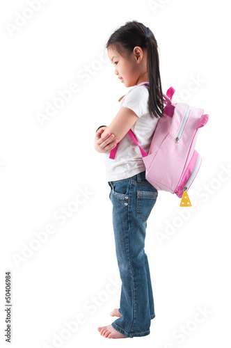Full body side profile view Asian child