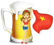 A girl holding the flag of Vietnam in front of a big mug of beer