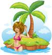 A lady wearing a pink bikini at the beach