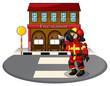 A fireman holding an ax