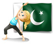 The Pakistan flag at the back of a girl