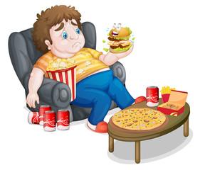 A fat boy eating