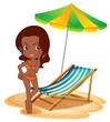 A tan lady at the beach
