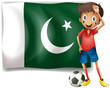 The Pakistan flag and the football player