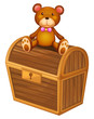 A bear at the top of a treasure chest