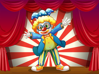 A stage with a funny clown