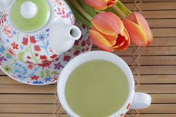 Green tea served at tablet