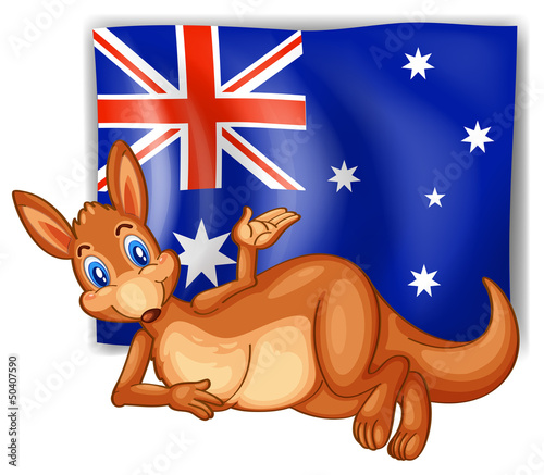 A kangaroo in front of the Australian flag