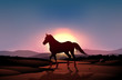 A sunset with a horse