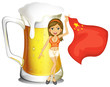 A girl with the flag of China in front of a big mug of beer