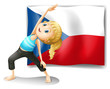 The Czech Republic flag with a girl