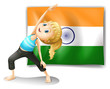 A girl exercising in front of the flag of India