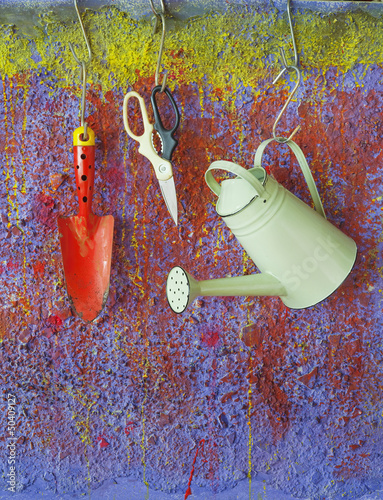garden utensils for spring, watering can, scissor,shovel,