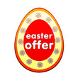 easter offer in red egg shape label with flowers