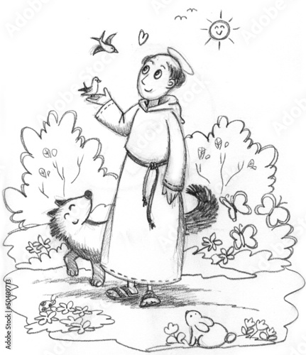 Coloring image of Saint Francis with wild animals