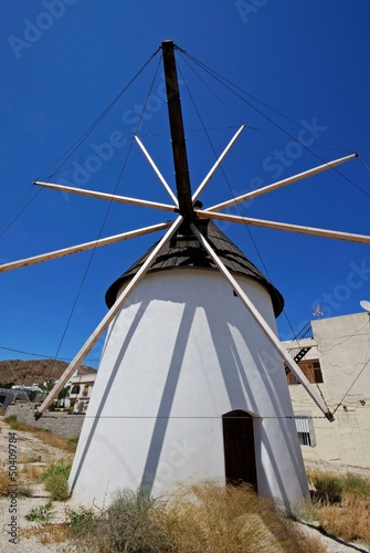Traditional Spanish windmill, Carboneras, Andalusia, Spain.