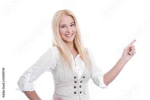 Junge Dame verkauft etwas - Zeigefinger