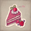 Vector hand drawn illustration of cake with strawberry