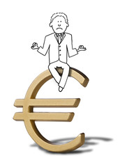 illustration of zen businessman on Euro symbol