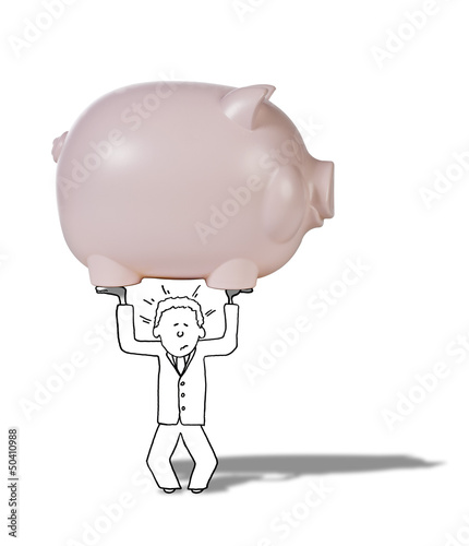 illustration of man suffering from difficult savings