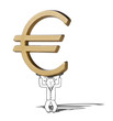 illustration of difficult increase of Euro symbol