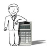 illustration of relaxed man next to calculator