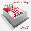 calendar 16 June, Father's Day . Vector