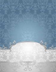 Set Seamless pattern in Victorian style Blue and Silver colors