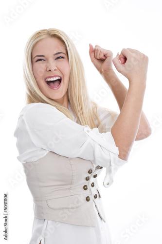 Junge blonde Frau - überglücklich