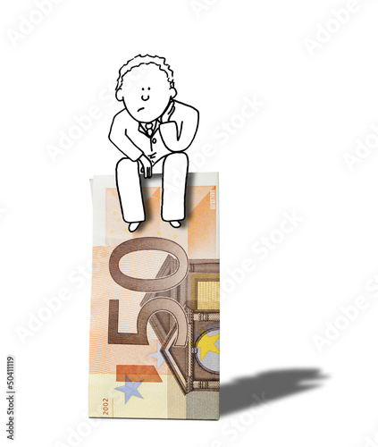 illustration of dubious businessman thinking about money