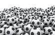 Soccer balls pile