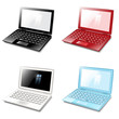 Set black, red, white , blue laptop computer. Vector