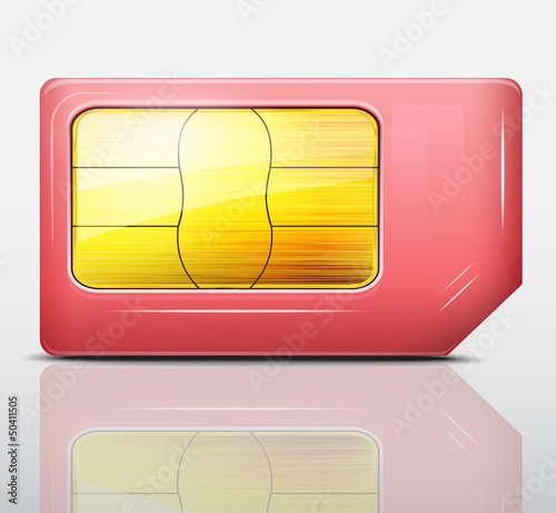 Red sim card icon .Vector