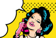 Comic Love Vector illustration of smile woman face talking by ph