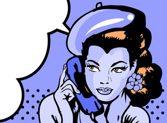 retro woman in chat by phone retro background or banner