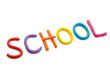 Schriftzug School aus Plastilin
