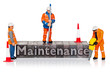 Maintenance word in letterpress with miniature workmen
