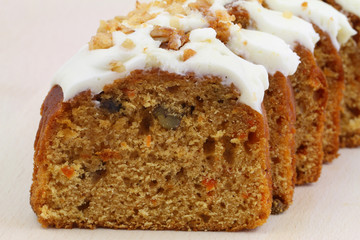 Carrot and walnut cake with marzipan icing, close up