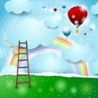 Fantasy background with rainbow and balloons