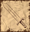 Sword icon isolated on vintage background