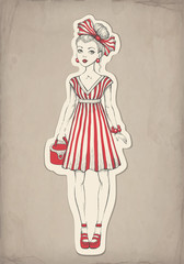 Vector fashion illustration of pretty girl