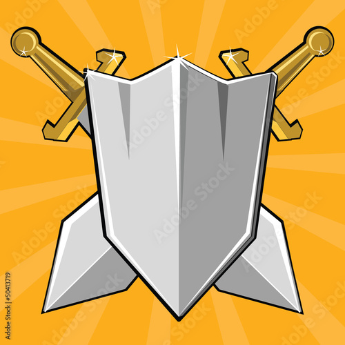 Two crossed swords and shield